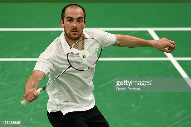 Scott Evans of Ireland competes against Gergely Krausz of Hungary in the Badminton Men's Singles Group A match during day twelve of the Baku 2015...