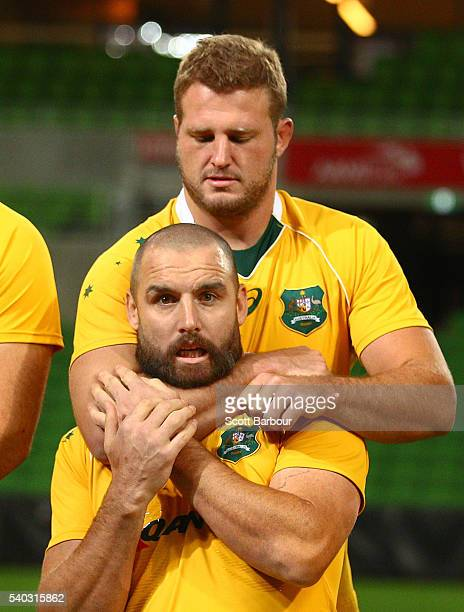 Scott Fardy and James Slipper of the Wallabies during a Wallabies team photo at AAMI Park on June 15 2016 in Melbourne Australia