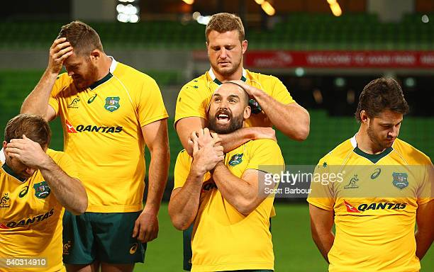 Scott Fardy James Slipper and Sam Carter of the Wallabies during a Wallabies team photo at AAMI Park on June 15 2016 in Melbourne Australia
