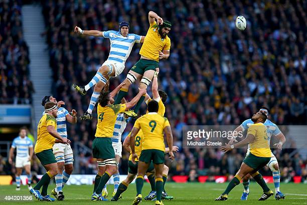 Scott Fardy of Australia and Guido Petti Pagadizabal of Argentina compete for the ball in a lineout during the 2015 Rugby World Cup Semi Final match...