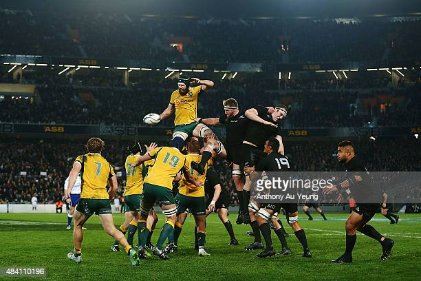 Scott Fardy of Australia competes for the lineout ball against Brodie Retallick and Kieran Read of New Zealand during The Rugby Championship...