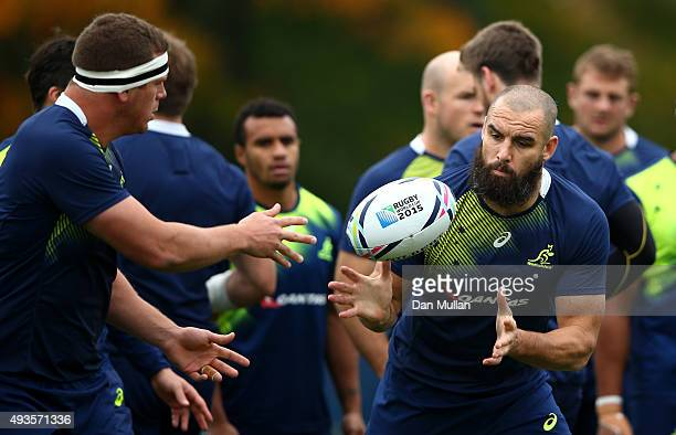 Scott Fardy of Australia receives a pass during a training session at the Lensbury Hotel on October 21 2015 in London United Kingdom