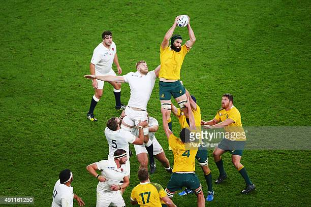Scott Fardy of Australia wins the line out ball during the 2015 Rugby World Cup Pool A match between England and Australia at Twickenham Stadium on...