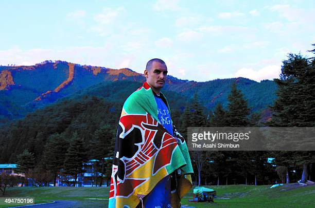 Scott Fardy of Kamaishi Seawaves poses for photographs during the Asahi Shimbun interview on November 9 2008 in Kamaishi Iwate Japan