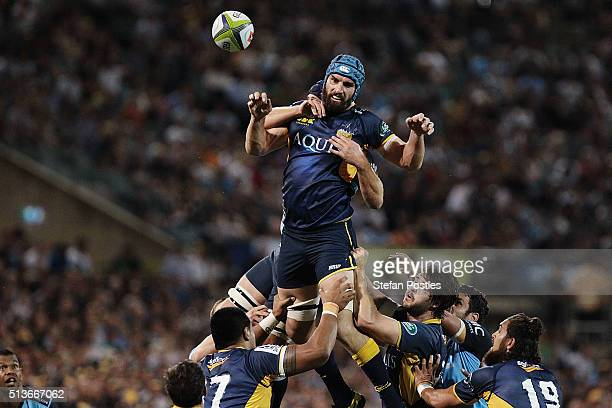 Scott Fardy of the Brumbies controls a line out during the round two NRL match between the Brumbies and the Waratahs at GIO Stadium on March 4 2016...