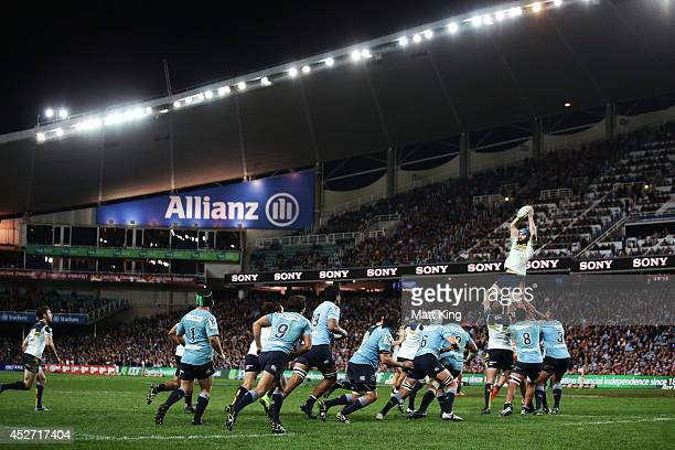 Scott Fardy of the Brumbies jumps at the lineout during the Super Rugby Semi Final match between the Waratahs and the Brumbies at Allianz Stadium on...
