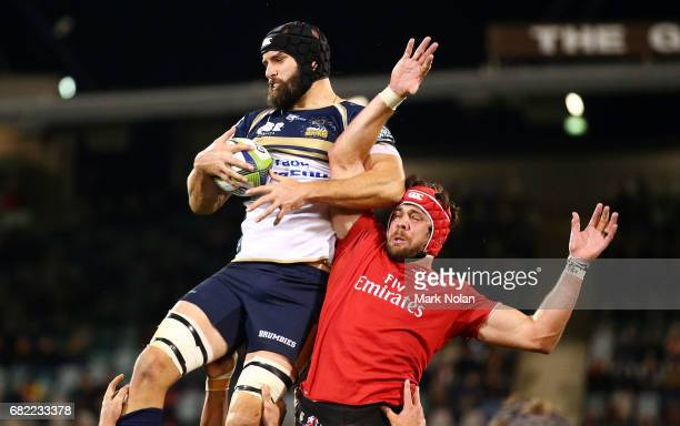 Scott Fardy of the Brumbies wins line out ball during the round 12 Super Rugby match between the Brumbies and the Lions at GIO Stadium on May 12,...