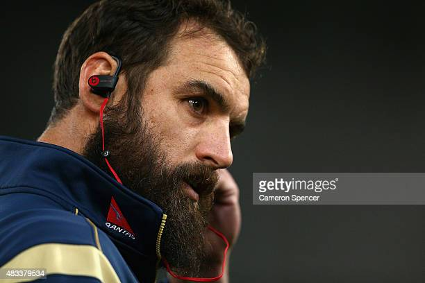 Scott Fardy of the Wallabies inspects the pitch prior to The Rugby Championship match between the Australia Wallabies and the New Zealand All Blacks...