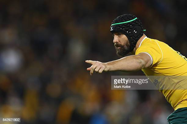 Scott Fardy of the Wallabies points during the International Test match between the Australian Wallabies and England at Allianz Stadium on June 25...