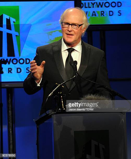 Scott Farrar accepts the Visual Effects award onstage during the 13th annual Hollywood Awards Gala Ceremony held at The Beverly Hilton Hotel on...