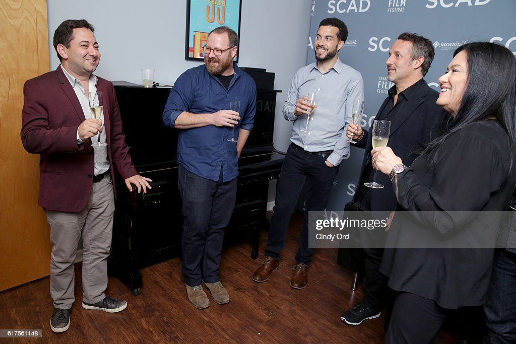 Scott Feinberg, Keith Maitland, Ezra Edelman, Richard Ladkani and Barbara Kopple speak backstage during the Docs to Watch Panel during the 19th Annual Savannah Film Festival presented by SCAD on October 23, 2016 in Savannah, Georgia.