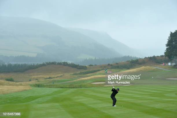 Scott Fernandez of Spain hits his second shot on the 2nd hole during the team competition foursomes semifinals during day five of the European Golf...