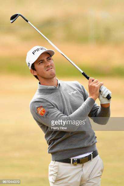 Scott Fernandez of Spain reacts to his second shot on hole eighteen during day one of the Aberdeen Standard Investments Scottish Open at Gullane Golf...