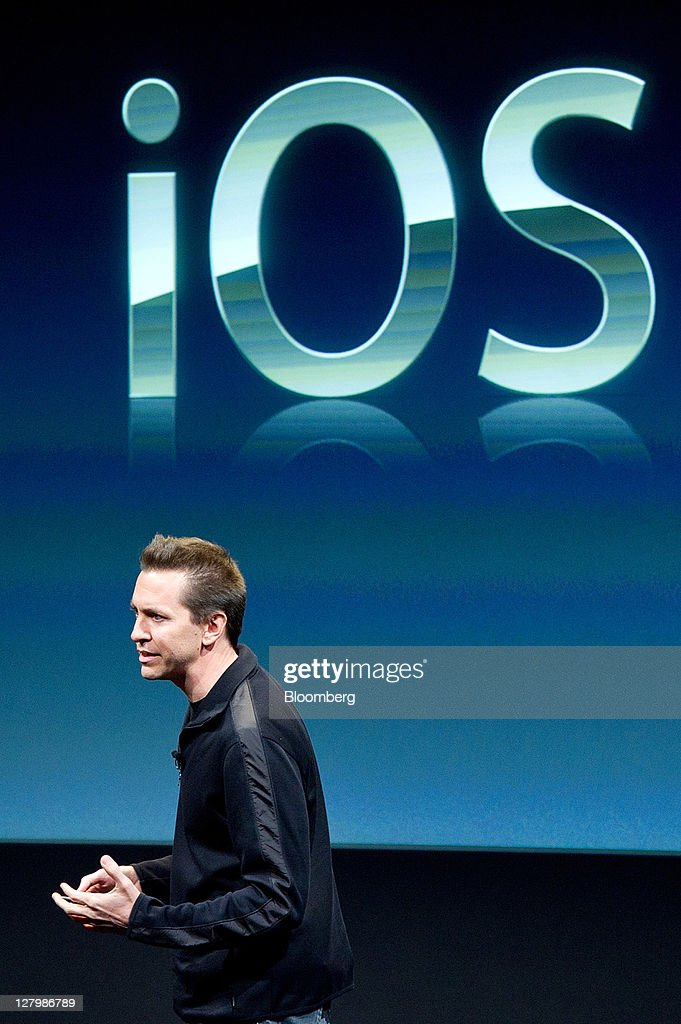 Scott Forstall, senior vice president in charge of iPhone software for Apple Inc., speaks about the features of Apple's new ios 5 operating system during an event at the company's headquarters in Cupertino, California, U.S., on Tuesday, Oct. 4, 2011. Apple Inc., in its first product unveiling since Steve Jobs resigned as chief executive officer, introduced a faster iPhone with voice features and a higher-resolution camera to help it vie with Google Inc.'s Android. Photographer: David Paul Morris/Bloomberg via Getty Images