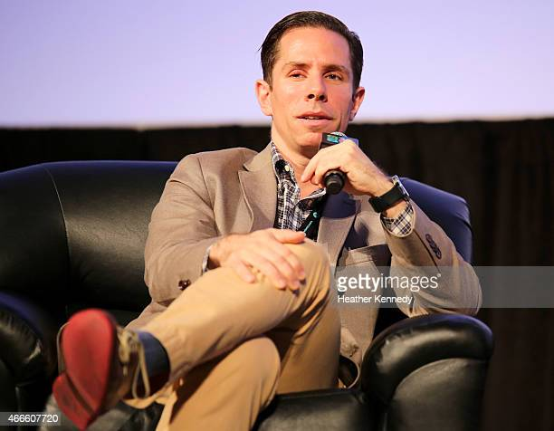 Scott Foundas Chief Film Critic at Variety speaks onstage at the 'Christine Vachon Keynote' during the 2015 SXSW Music Film Interactive Festival at...
