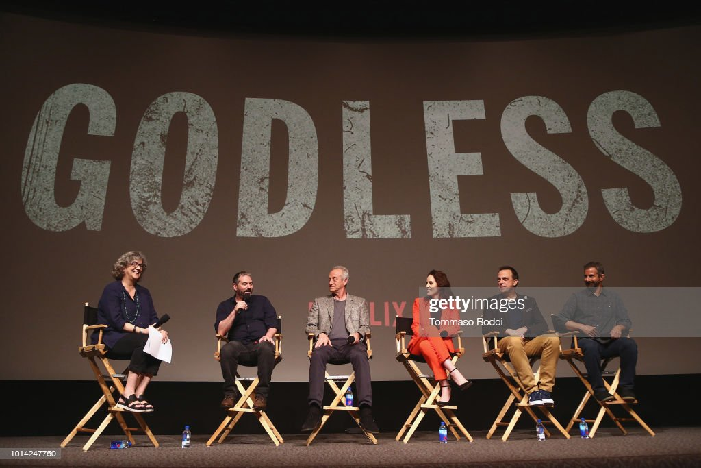 Scott Frank, Casey Silver, Michelle Dockery, Carlos Rafael Rivera and Steven Meizler attend the Netflix Celebrates 12 Emmy Nominations For 'Godless' at DGA Theater on August 9, 2018 in Los Angeles, California.