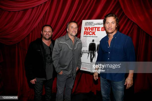 Scott Franklin Richard Linklater and Matthew McConaughey attend the Austin Film Society's premiere screening of White Boy Rick at AFS Cinema on...