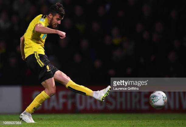 Scott Fraser of Burton Albion scores his team's second goal during the Carabao Cup Fourth Round match between Burton Albion and Nottingham Forest at...