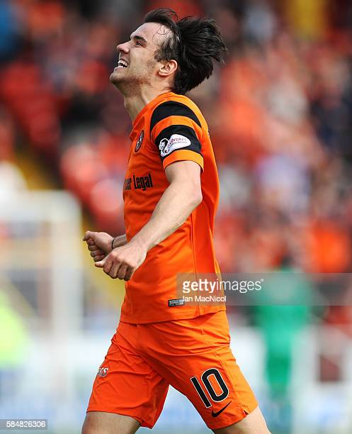Scott Fraser of Dundee United celebrates after he scores during the Betfred League Cup group match between Dundee United and Dunfermline Athletic at...