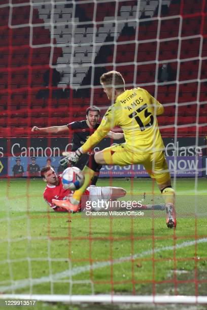 Scott Fraser of MK Dons cores the only goal of the match during the Sky Bet League One match between Charlton Athletic and Milton Keynes Dons at The...