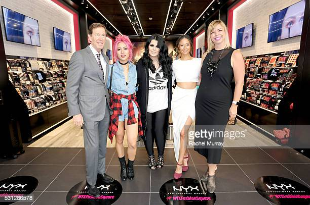 Scott Friedman and Nathalie Kristo SVP of Global Marketing and Business Development for NYX Cosmetics pose for photos with top beauty influencers Amy...