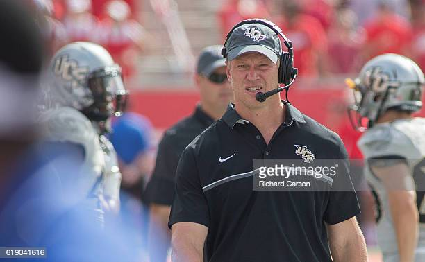 Scott Frost head coach of the University of Central Florida Knight walks the sidelines during the second quarter of his team's game against the...