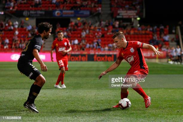 Scott Galloway of Adelaide United controls the ball during the round 19 ALeague match between Adelaide United and the Western Sydney Wanderers at...
