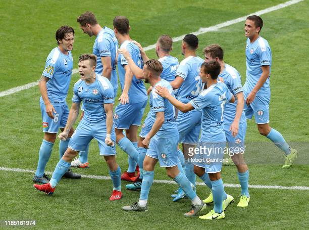 Scott Galloway of Melbourne City celebrates after scoring a goal during the round four ALeague match between Melbourne City and the Wellington...