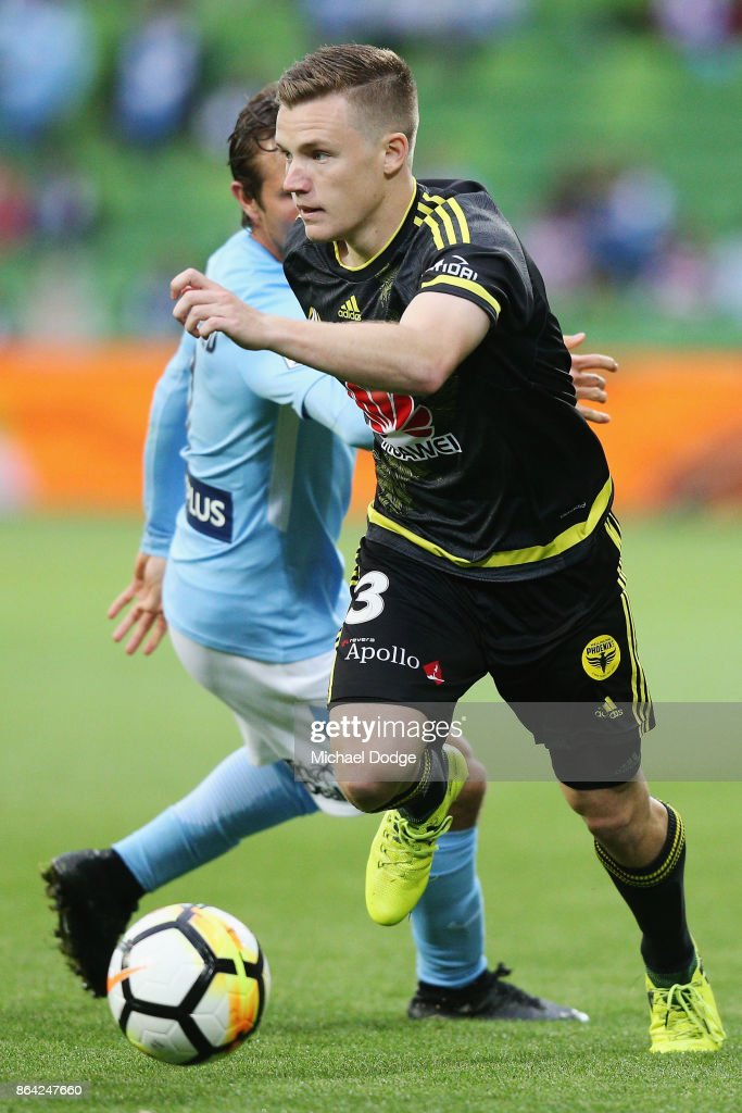 Scott Galloway of Wellington Phoenix runs with the ball during the round three A-League match between Melbourne City and the Wellington Phoenix at AAMI Park on October 21, 2017 in Melbourne, Australia.