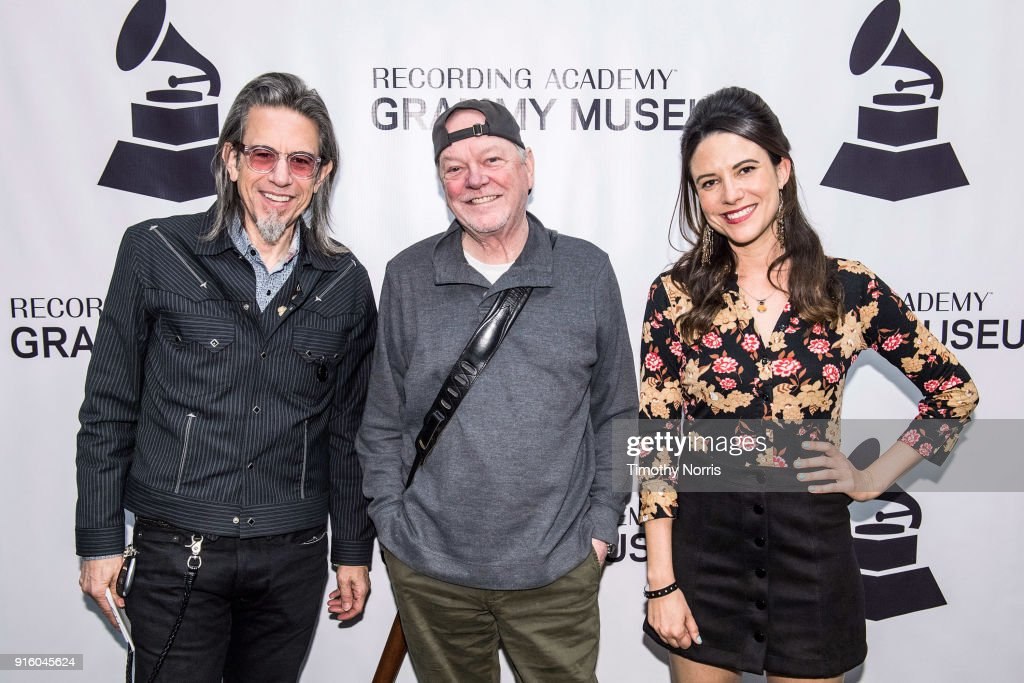 Scott Goldman, Rusty Young and Chelsea Williams attend an evening with Rusty Young from Poco at The GRAMMY Museum on February 8, 2018 in Los Angeles, California.