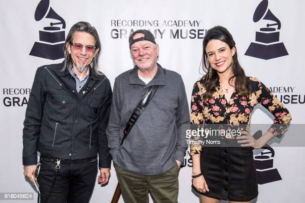 Scott Goldman Rusty Young and Chelsea Williams attend an evening with Rusty Young from Poco at The GRAMMY Museum on February 8 2018 in Los Angeles...