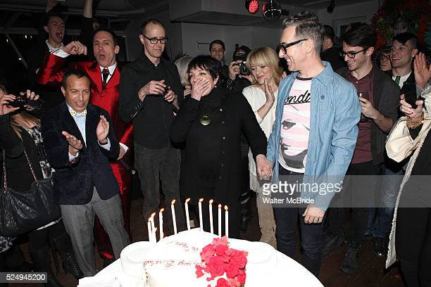 Scott Gorenstein Daniel Nardicio Grant Shaffer Liza Minnelli Alan Cumming attending the Liza Minnelli 67th Birthday Celebration at the Copa in New...
