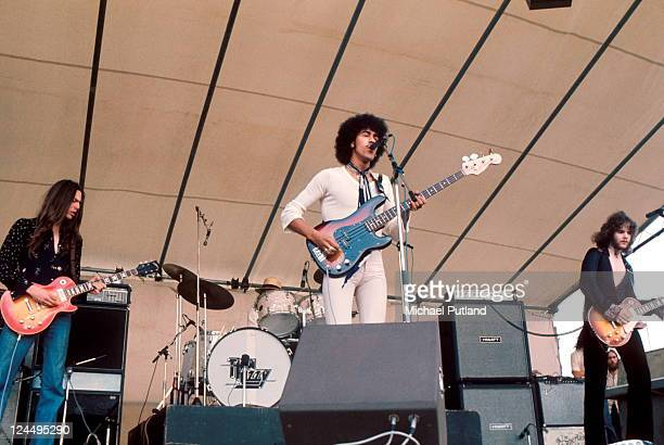 Scott Gorham Phil Lynott Brian Robertson of Thin Lizzy perform at Reading Festival UK 24th August 1974