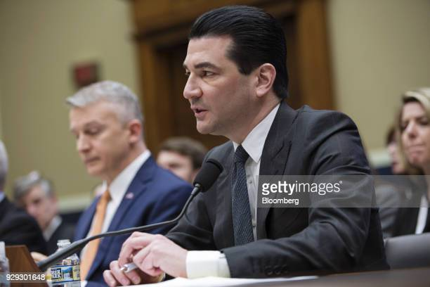 Scott Gottlieb commissioner of the Food and Drug Administration speaks during a House Oversight and Investigations Subcommittee hearing in Washington...