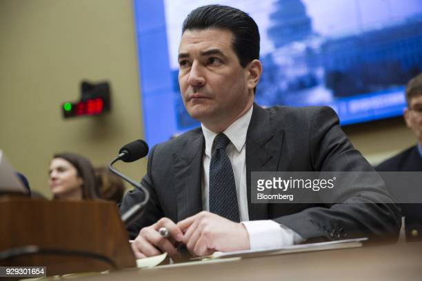Scott Gottlieb commissioner of the Food and Drug Administration listens during a House Oversight and Investigations Subcommittee hearing in...