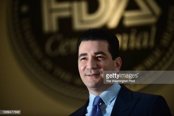 Scott Gottlieb commissioner of the Food and Drug Administration poses for portrait photographs in front of the old FDA sign at the FDA in White Oak...