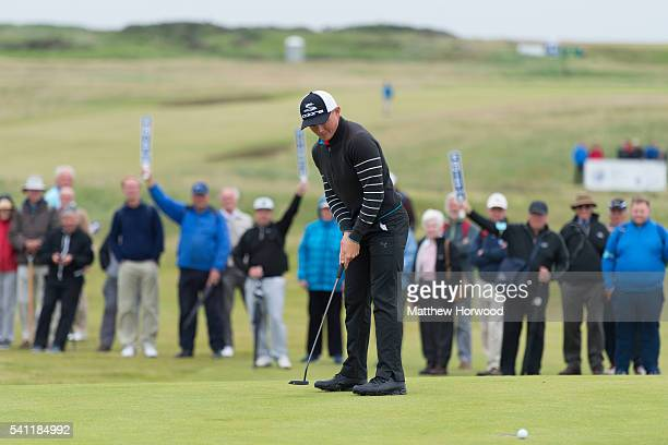 Scott Gregory of Corhampton narrowly misses a putt during the Amateur Championship Trophy at the Final of The Amateur Championship 2016 Day Six at...