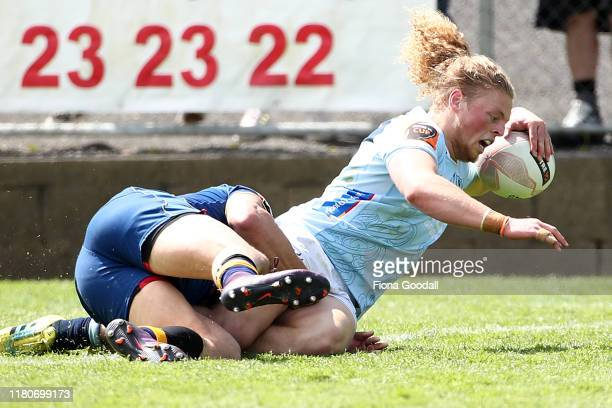 Scott Gregory of Northland scores a try during the round 10 Mitre 10 Cup match between Northland and Otago at Semenoff Stadium on October 13 2019 in...