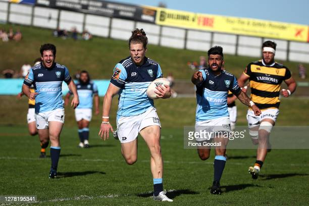 Scott Gregory of Northland scores a try during the round 4 Mitre 10 Cup match between Northland and Taranaki at Semenoff Stadium on October 03, 2020...