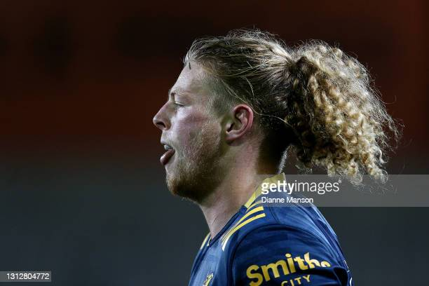 Scott Gregory of the Highlanders looks on during the round eight Super Rugby Aotearoa match between the Highlanders and the Blues at Forsyth Barr...