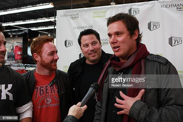 Scott Grimes, Greg Grunberg and Bob Guiney from Band with TV talk with media at the grand opening of Loehmann's in Costa Mesa on March 13, 2010 in...