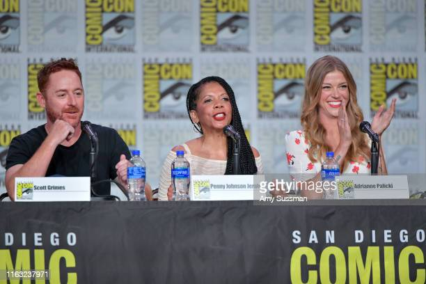 Scott Grimes Penny Johnson Jerald and Adrianne Palicki speaks at The Orville Panel during 2019 ComicCon International at San Diego Convention Center...