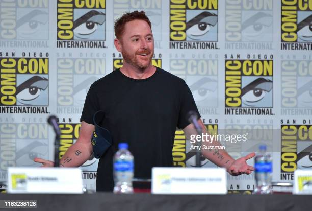 Scott Grimes speaks at The Orville Panel during 2019 ComicCon International at San Diego Convention Center on July 20 2019 in San Diego California