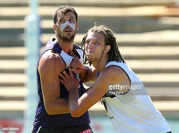 Scott Gumbleton and Craig Moller contest for the ball during a Fremantle Dockers AFL preseason training session at Fremantle Oval on February 4 2014...