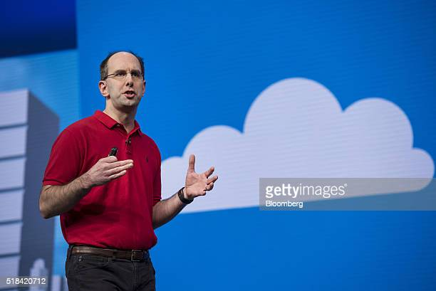 Scott Guthrie executive vice president of the cloud and enterprise group at Microsoft Corp speaks during a keynote session at the Microsoft...