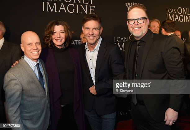 Scott Hamilton Amy Grant Dennis Quaid and Bart Millard attend the 'I Can Only Imagine' premiere at Schermerhorn Symphony Center on February 26 2018...