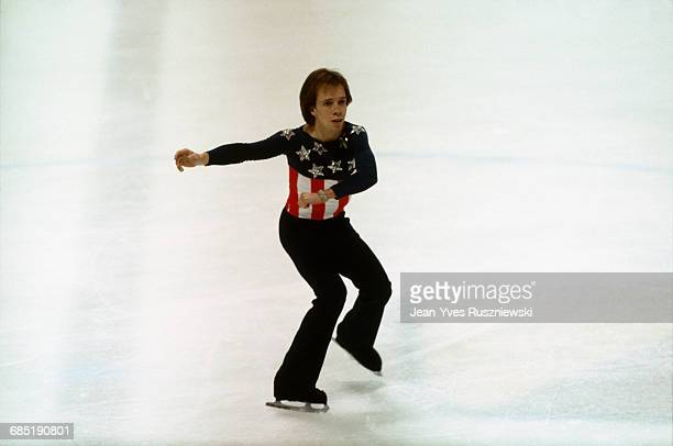 Scott Hamilton from the USA competes at the 1984 Winter Olympics where he will win Gold