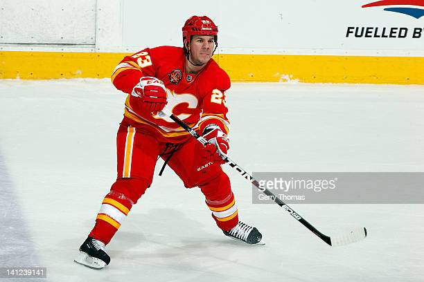 Scott Hannan of the Calgary Flames skates against the St Louis Blues on February 27 2012 at the Scotiabank Saddledome in Calgary Alberta Canada The...