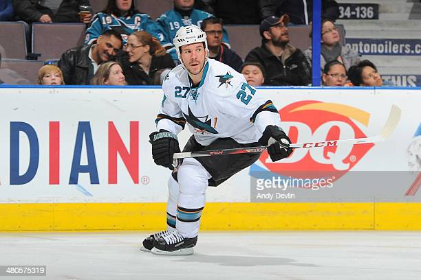 Scott Hannan of the San Jose Sharks skates on the ice in a game against the Edmonton Oilers on March 25 2014 at Rexall Place in Edmonton Alberta...