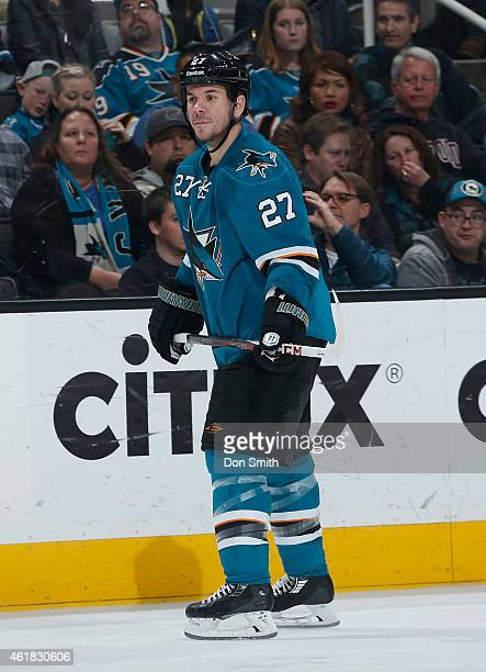 Scott Hannan of the San Jose Sharks skates up the ice against the Calgary Flames during an NHL game on January 17 2015 at SAP Center in San Jose...